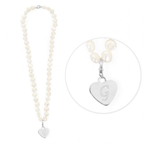 Personalised White Freshwater Initial Pearl Necklace White